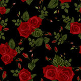 Vector seamless floral pattern with red roses Royalty Free Stock Images