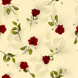 Vector seamless floral pattern with red roses on light backgroun Stock Photo