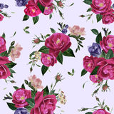 Vector seamless floral pattern with roses and freesia Royalty Free Stock Images