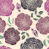 Vector seamless floral pattern with roses Royalty Free Stock Photo