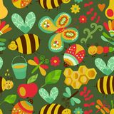 Vector seamless floral pattern. Summer composition with honeycom Royalty Free Stock Photo