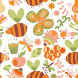Vector seamless floral pattern. Summer composition with honeycom Stock Photo