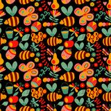 Vector seamless floral pattern. Summer composition with honeycom Stock Photos