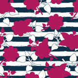 Vector seamless floral pattern, watercolor blue stripes and pink Stock Photography