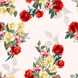 Vector seamless floral pattern with yellow and red roses Stock Image