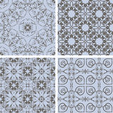 Vector seamless floral patterns in blue and brown. Oriental style, can be used as backgrounds, patterns, wrapping paper royalty free illustration