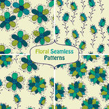 Vector seamless Floral  Patterns. Fully editable eps 10 file with clipping mask and seamless pattern in swatch menu Royalty Free Stock Images