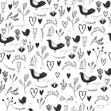 Vector seamless floral romantic pattern with birds, hearts and flowers. Black and white, hand drawn Stock Photos