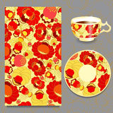 Vector seamless floral russian or slavs pattern with cup and pla Royalty Free Stock Photos