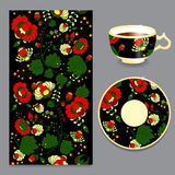 Vector seamless floral russian or slavs pattern with cup and pla Stock Photos