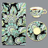 Vector seamless floral russian or slavs pattern with cup and pla Stock Image