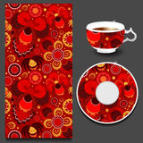 Vector seamless floral russian or slavs pattern with cup and pla Stock Images