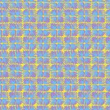 Vector seamless floral square tile bright yellow, blue and pink pattern. For wrapping, craft, textile, fabric Royalty Free Stock Photo