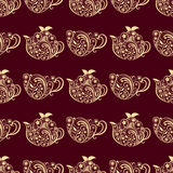Vector Seamless Floral Teapot and Cup Pattern Royalty Free Stock Photography