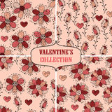 Vector seamless Floral Valentine's Patterns. Fully editable eps 10 file with clipping mask and seamless pattern in swatch menu royalty free illustration