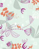 Vector seamless floral and wildlife wallpaper Royalty Free Stock Photo
