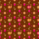 Vector seamless flower pattern with snails Royalty Free Stock Photo