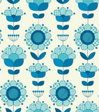Vector seamless flower pattern for surface design. In traditional folk style. Geometry 60s inspired floral  illustration in blue pottery color for wrapping Royalty Free Stock Photography