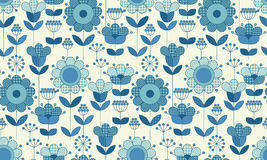 Vector seamless flower pattern for surface design. In traditional folk style. Geometry 60s inspired floral  illustration in blue pottery color for wrapping Stock Photos