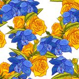 Vector seamless flower pattern. For cards, textiles, backgrounds Royalty Free Stock Images