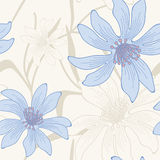 Vector seamless flowers background. Vector seamless hand drawn flower and leaves background Royalty Free Stock Photography