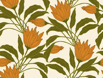 Vector seamless flowers background. Vector seamless hand drawn flower and leaves background Royalty Free Stock Photos