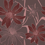 Vector seamless flowers background. Vector seamless hand drawn flower and leaves background Stock Photo