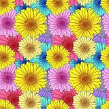 Vector Seamless Flowers Pattern, Background Template, Colorful Illustration, Card Backdrop. stock illustration