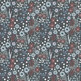 Vector seamless folk pattern, textile design with hand drawn doodle flowers and leaf