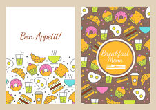 Vector Seamless Food Background. Breakfast Menu Stock Photos