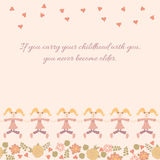 Vector seamless frame with baby girl. Stock Image
