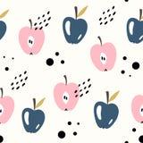 Vector seamless fruit pattern. Apples. Scandinavian style, cute print. Vector seamless fruit pattern. Apples. Scandinavian style stock illustration