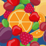 Vector seamless fruit pattern, oranges, gooseberries, strawberries, plums, cherries, raspberries, apricot Royalty Free Stock Photos