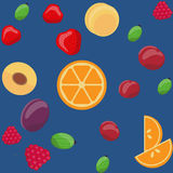 Vector seamless fruit pattern, oranges, gooseberries, strawberries, plums, cherries, raspberries, apricots.  Royalty Free Stock Photos