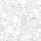 Vector seamless fruits pattern. Vector seamless pattern. Abstract background with fruits. Transparent background Royalty Free Stock Photo