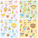 Vector seamless, fun baby patterns , babies differ Stock Images