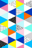 Vector seamless geometric, abstrtact pattern. Memphis Style, 80s. Stock Photo