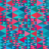 Vector Seamless Geometric Blue Pink Shades Multicolor Triangle Quilt Pattern Royalty Free Stock Photos