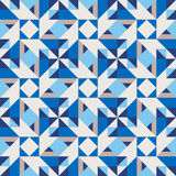 Vector Seamless Geometric Blue Shades Rhombus Triangle Tiling Pattern Stock Photography