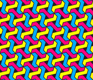 Vector Seamless Geometric Cyan Magenta and Yellow Colors Hexagonal Tessellation Pattern  Royalty Free Stock Images