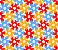 Vector Seamless Geometric Hexagonal Red Blue Yellow Shapes Tiling on White Background Pattern. Abstract Background Vector Illustration