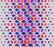Vector Seamless Geometric Outlined Cube Grid Isometric Red Blue Pink Pattern Stock Image