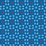 Blue and red beautiful floral and beaded structures in a seamless pattern royalty free illustration