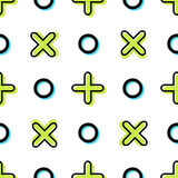 Vector seamless geometric pattern with crosses and circles. Stock Images