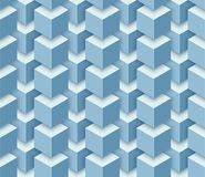 Vector seamless geometric pattern of 3d cubes. Seamless geometric pattern of 3d blue cubes. Vector volumetric background Stock Illustration