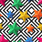 Vector seamless geometric pattern. 3d stylized multicolor stars on monochrome background. Stock Photos