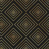 Vector seamless geometric pattern with golden diamond on black background stock illustration
