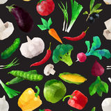 Vector seamless geometric pattern with polygonal vegetables Royalty Free Stock Photos