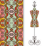 Vector seamless geometric pattern with vintage. Tailor's dummy for female body, invitation card design Royalty Free Stock Photo