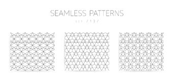 Vector seamless geometric patterns collection with editable stro Royalty Free Stock Photo